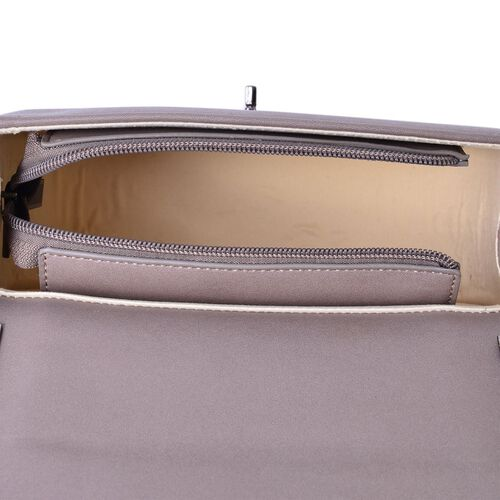 Croc Embossed Grey Colour Crossbody Bag with Chain Strap (Size 21.5x17x9 Cm)