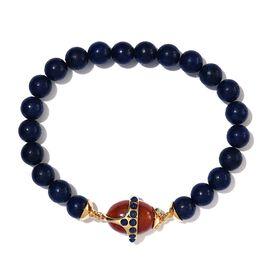 Sundays Child - Lapis Lazuli, Red Jade and Arizona Sleeping Beauty Turquoise Stretchable Bracelet (S