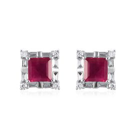 RHAPSODY 950 Platinum AAAA Burmese Ruby and Diamond (VS/E-F) Stud Earrings (with Screw Back) 1.15 Ct