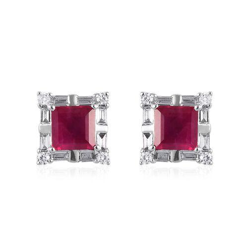 RHAPSODY 950 Platinum AAAA Burmese Ruby and Diamond (VS/E-F) Stud Earrings (with Screw Back) 1.15 Ct