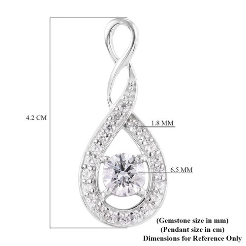 J Francis Platinum Overlay Sterling Silver Pendant Made with SWAROVSKI ZIRCONIA