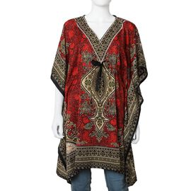 Red Colour Tribal Printed V- neck Kaftan (One Size; 91.44x104.14 Cm)