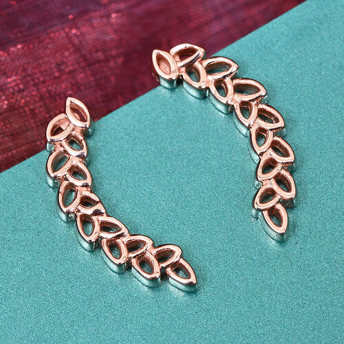 J Francis Rose Gold Overlay Sterling Silver Wheat-Inspired Climber Earrings (with Push Back) Made with SWAROVSKI ZIRCONIA