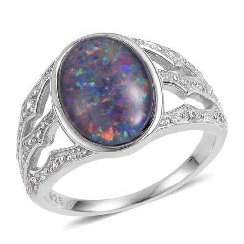 Designer Inspired Rare Size Australian Boulder Opal (Ovl 14x10mm), Natural White Cambodian Zircon Ri