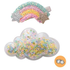2 Piece Set - Rainbow and Cloud Design Hairpin with Multi Colour Flash Chip (Size 6x3 Cm, 8x4 Cm) -
