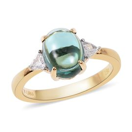 ILIANA 2.9 Ct Monte Belo Indicolite and Diamond 3 Stone Ring in 18K Gold 3.85 Grams