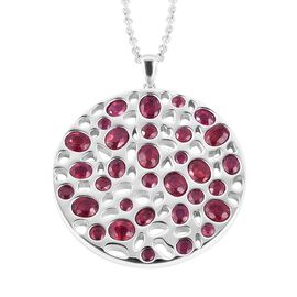 Rachel Galley 9.6 Ct African Ruby Cluster Lattice Pendant with Chain in Rhodium Plated Sterling Silv