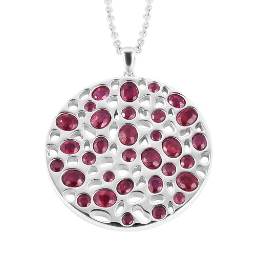 Rachel Galley 9.6 Ct African Ruby Cluster Lattice Pendant with Chain in Sterling Silver 25.94 Grams