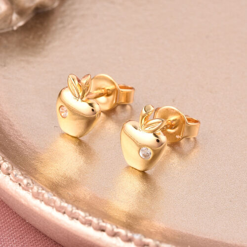RACHEL GALLEY - Natural Cambodian Zircon Apple Stud Earrings (with Push Back) in Yellow Gold Overlay Sterling Silver