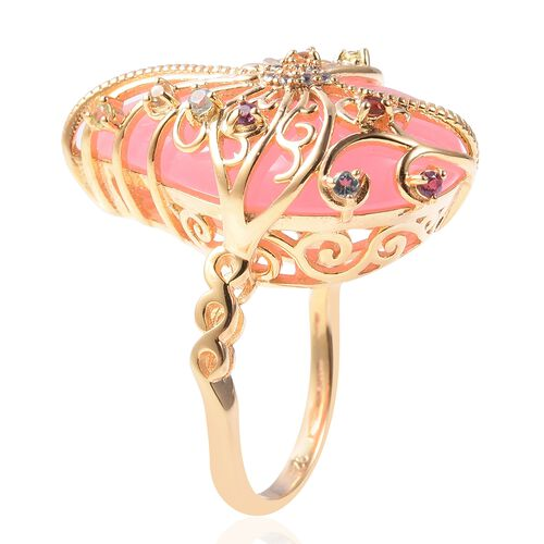 Pink Jade (Pear 24x16 Cm), Multi Gemstone Filigree Ring in Yellow Gold Overlay Sterling Silver 15.28 Ct.