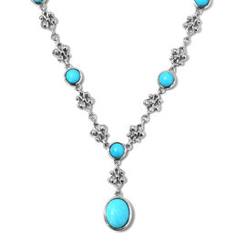 7.25 Ct Arizona Sleeping Beauty Turquoise Y Necklace in Platinum Plated Silver 18.94 Grams 18 Inch