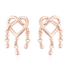 LucyQ Entwined Heart Three Drip Earrings (with Push Back) in Rose Gold Overlay Sterling Silver