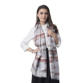 Light Brown, Rust Red and Multi Colour Strip Shape Pattern Scarf (Size 192x70 Cm)