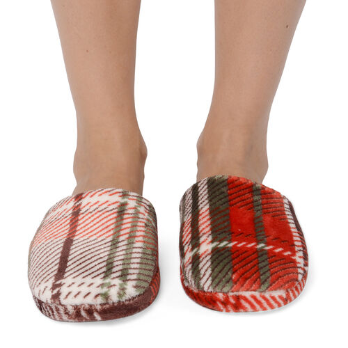 2 Piece Set - Check Pattern Flannel Hooded Wrap (Free Size, L: 90cm) and Slipper (Size 42) - Red, White and Multi Colour