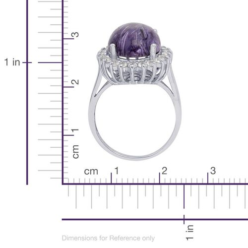 Russian Charoite (Ovl 8.00 Ct), White Topaz Ring in Platinum Overlay Sterling Silver 9.000 Ct.