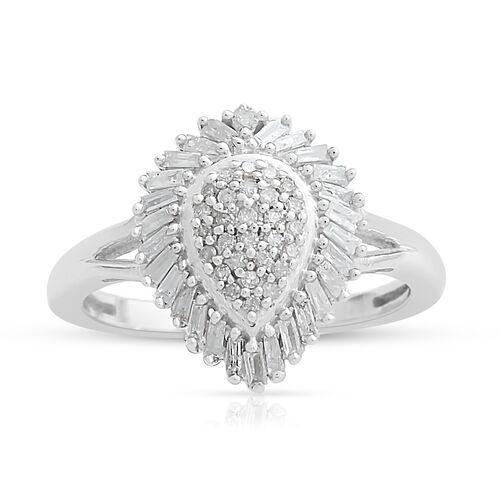 9K White Gold SGL Certified Diamond (Rnd and Bgt) (I3/G-H) Ring 0.500 Ct.