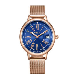 GAMAGES OF LONDON Ladies Sophisticated Swiss Movement Watch with Diamond in Rose Blue