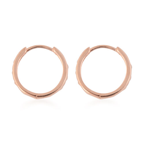 Rose Gold Overlay Sterling Silver Diamond Cut Hoop Earrings (with Clasp), Silver wt 3.70 Gms