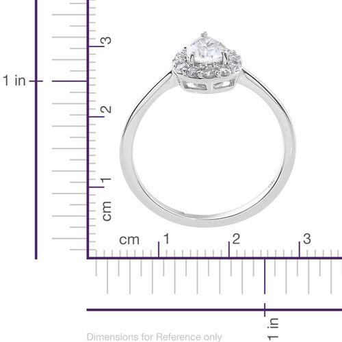 J Francis - 9K White Gold Pear Halo Ring Made with SWAROVSKI ZIRCONIA