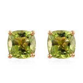 Hebei Peridot (Cush) Stud Earrings in 14K Gold Overlay Sterling Silver 3.00 Ct.