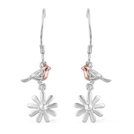 Rose Gold and Platinum Overlay Sterling Silver Robin Bird Earrings