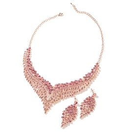 2 Piece Set - Pink Austrian Crystal (Rnd) Chandelier Design Necklace (Size 19 with 3 inch Extender)