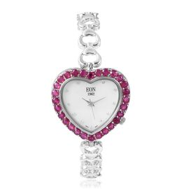 EON 1962 African Ruby Sterling Silver Heart Link Time Piece (Size 7-8 Inch) (With Swiss Movement, Sa