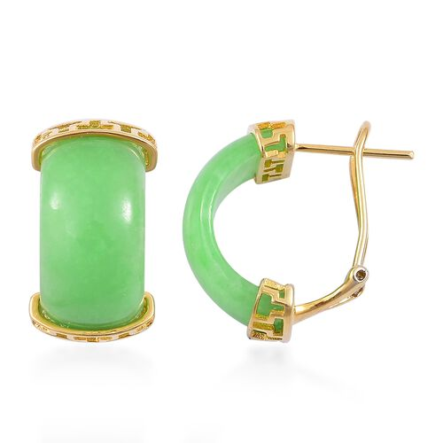 Green Jade Earrings (with French Clip) in Yellow Gold Overlay Sterling Silver 20.250 Ct.