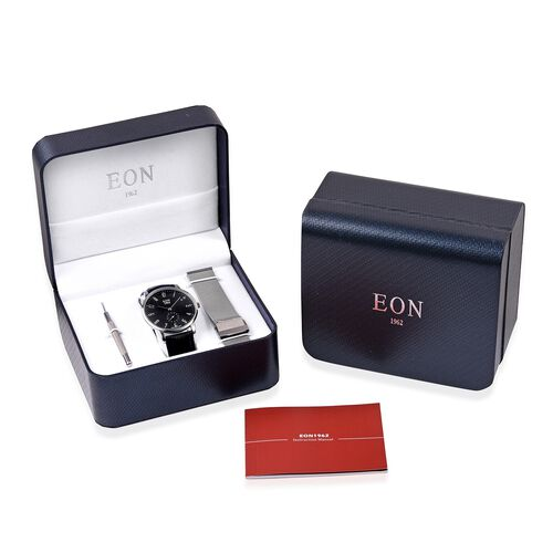 EON 1962 Japanese Movement Sapphire Glass 3ATM Water Resistant Watch in with Interchangeable Black Colour Genuine Leather and Mesh Silver Tone Strap