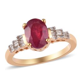 African Ruby and Diamond Ring in 14K Gold Overlay Sterling Silver 2.00 Ct.