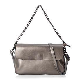 100% Genuine Leather Bronze Colour Crossbody Bag with External Zipper Pocket and Shoulder Strap (Size 30x19x9.5 Cm)