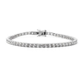 ELANZA Simulated Diamond (Rnd) Tennis Bracelet (Size 8) in Rhodium Overlay Sterling Silver, Silver wt 9.00 Gms