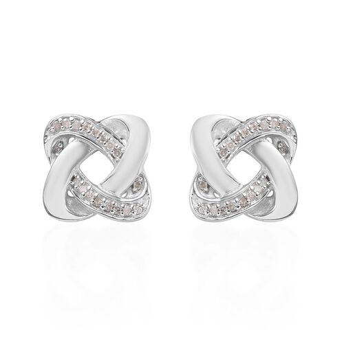 0.15 Carat Diamond Knot Stud Earrings (with Push Back) in Platinum Overlay Sterling Silver