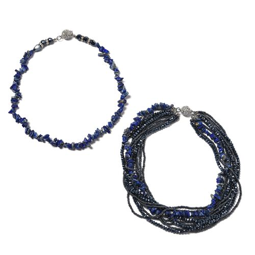 Lapis Lazuli, Multi Colour Beads and White Austrian Crystal Beads Necklace (Size 18)