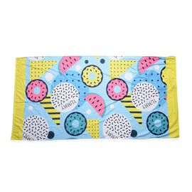 Blue, Yellow and White Colour Watermelon Pattern Beach Towel or Bag (Size 88x170 Cm)