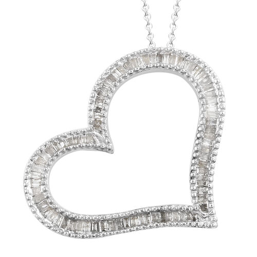 Limited Edition- Diamond (Bgt) Heart Pendant with Chain (Size 20) in Platinum Overlay Sterling Silver 0.750 Ct, Number of Diamond 129