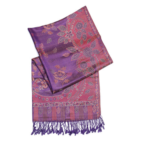 100% Superfine Silk Purple, Red and Multi Colour Flower and Leaf Pattern Scarf (Size 180x70 Cm)