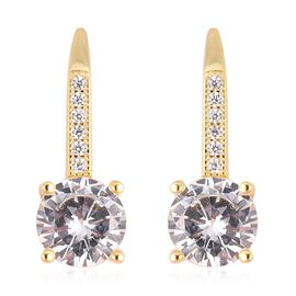 ELANZA Simulated Diamond (Rnd) Lever Back Earrings in Yellow Gold Overlay Sterling Silver