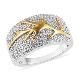 Diamond (Rnd) Ring in Platinum and Yellow Gold Plated