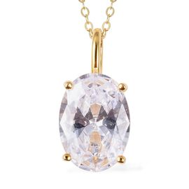 ELANZA Simulated Diamond (Ovl 14x10 mm) Pendant With Chain (Size 18) in 14K Gold Overlay Sterling Si