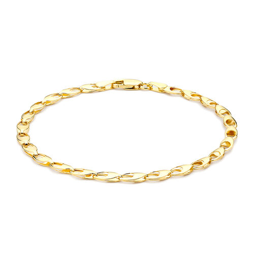 9K Yellow Gold Oval Link Bracelet (Size 7).