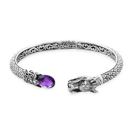 Royal Bali Collection- Amethyst Dragon Bangle  in Sterling Silver 4.40 Ct, Silver wt 24.00 Gms