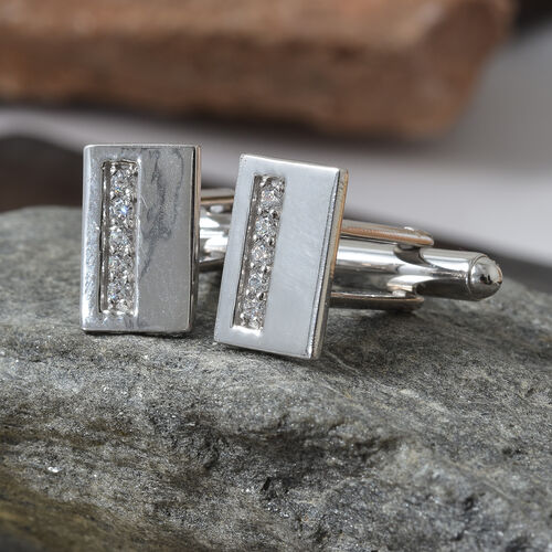 J Francis - Platinum Plated (Rnd) Cufflink Made with SWAROVSKI ZIRCONIA