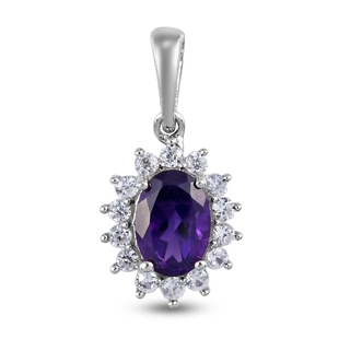 Amethyst and Natural Cambodian Zircon Pendant in Platinum Overlay Sterling Silver