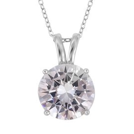 ELANZA Simulated Diamond (Rnd) Pendant With Chain (Size 18) in Rhodium Overlay Sterling Silver