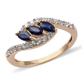 9K Yellow Gold Madagascar Blue Sapphire and Natural Cambodian Zircon Ring 1.00 Ct.