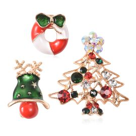 3 Piece Set - Multicolour Austrian Crystal (Rnd) Christmas Theme Enamelled Brooch in Yellow Gold Pla
