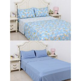 8 Piece Set 2x Fitted Sheet, 2x Flat Sheet and 4x Pillow Case Set (Size Double) Blue