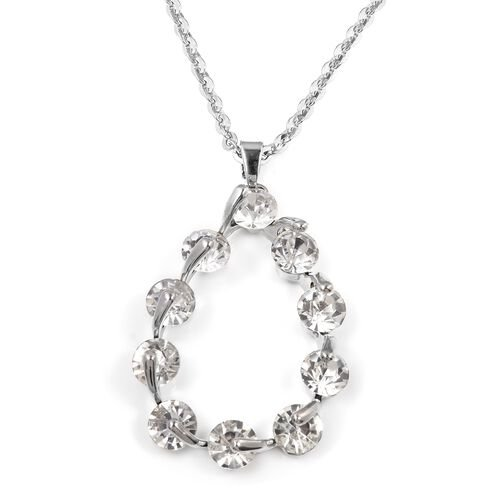 White Austrian Crystal (Rnd) Teardrop Pendant With Chain (Size 30 with 2 inch Extender) in Silver Bond