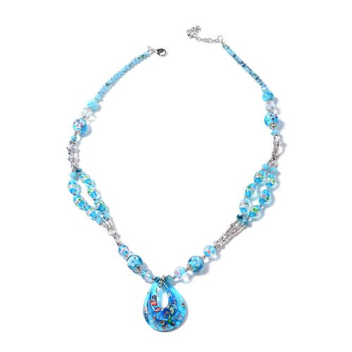 Murano Style Glass, Simulated Blue Topaz, Blue Quartzite and Simulated Mystic Glass Necklace (Size 2